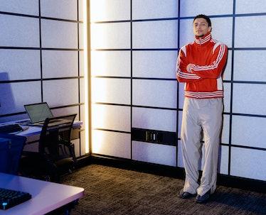 """Ali """"Myth"""" Kabbani wears an Adidas Originals by Wales Bonner track top; Balenciaga pants and sandals..."""