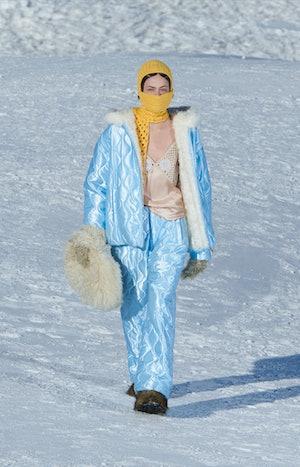 Model walks in Miu Miu's Fall/Winter 2021 Runway Show.
