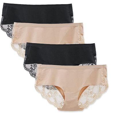LIQQY Cotton Lace Briefs (4-Pack)