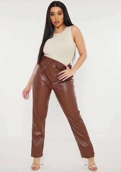 Missguided Plus Size Nude Chocolate Mock Croc Split Hem Faux Leather Trousers