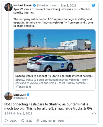 SpaceX wants to offer its satellite internet service on moving vehicles.