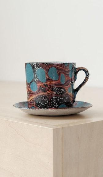 Mug & Saucer Set: Black Pattern