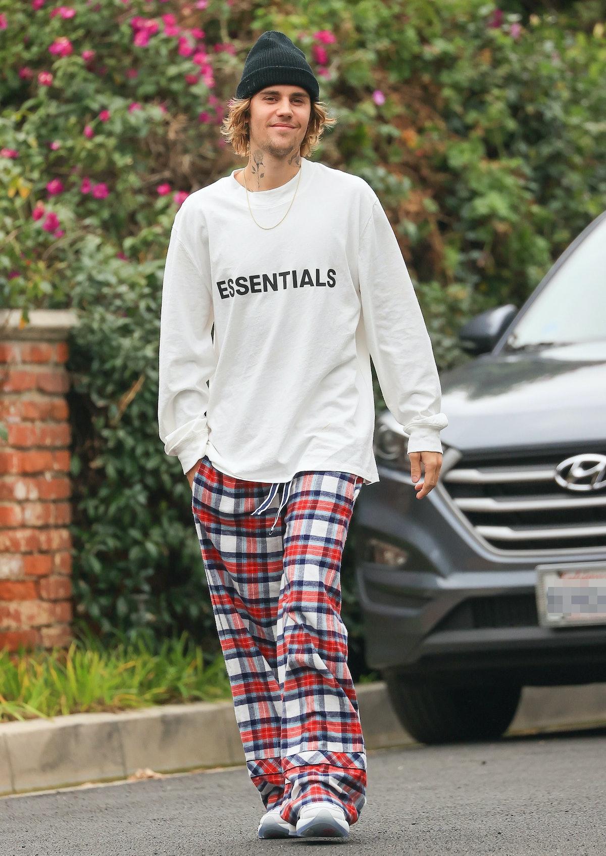 Justin Bieber wearing plaid PJ pants