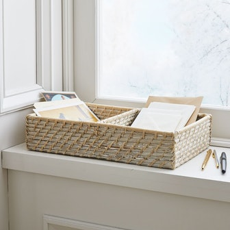 Modern Weave Basket w/ Divider - Whitewashed