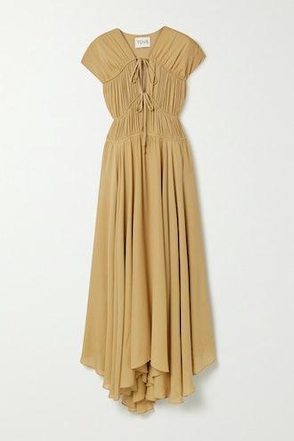 Flores Gathered Silk-Georgette Maxi Dress