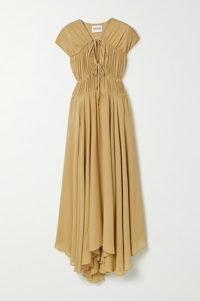 Flores Gathered Silk-Georgette Maxi Dress
