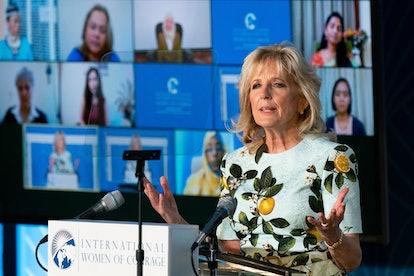 Twitter Thinks Jill Biden's Lemon-Print Dress Is A Nod To Meghan Markle