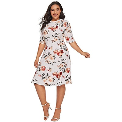 Romwe Plus Size Floral Print Fit And Flare Dress