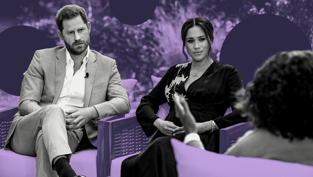 Prince Harry & Meghan Markle sit side by side in a garden, looking at Oprah, who has her back to the camera