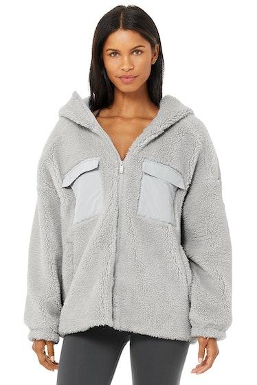 Cargo Sherpa Jacket in Dove Grey