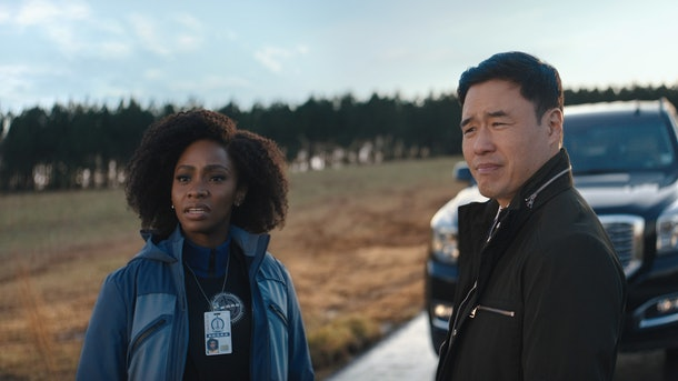 Teyonah Parris and Randall Park as Monica and Jimmy Woo in WandaVision