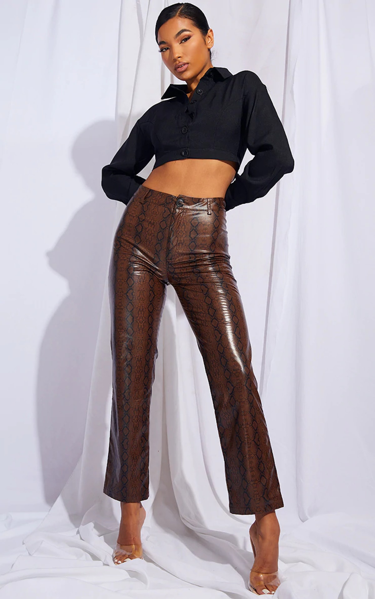PrettyLittleThing Brown Faux Leather Snake Print Cropped Straight Leg Pants