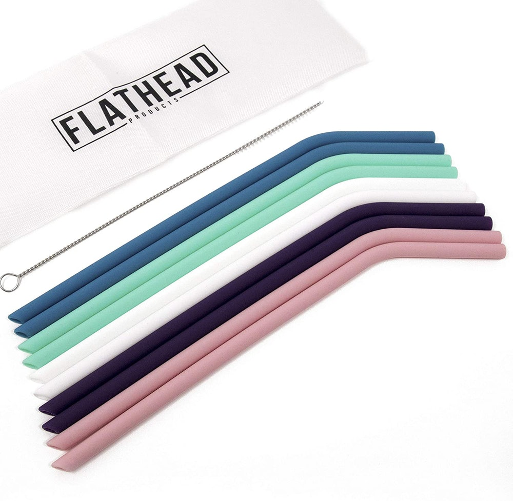 Flathead Bent Reusable Silicone Drinking Straws (10-Pack)