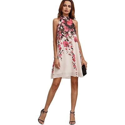 Floerns Floral Sleeveless Halter Neck Party Dress