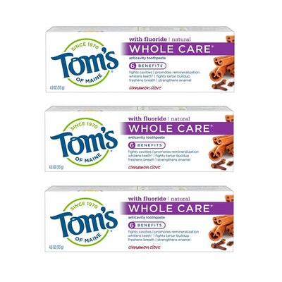 Tom's of Maine Whole Care Natural Toothpaste With Fluoride (3-Pack)
