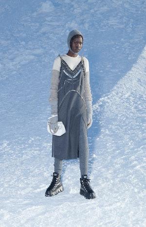 Model walks in Miu Miu's Fall/Winter 2021 show.