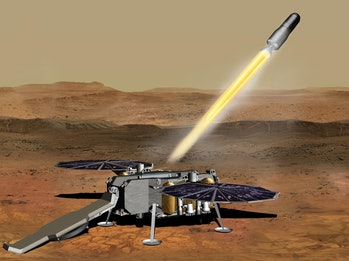 An illustration of the NASA Mars Ascent Vehicle on the surface of Mars.
