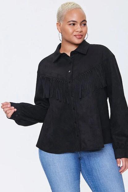 Forever 21 Plus Size Faux Suede Fringe Shirt