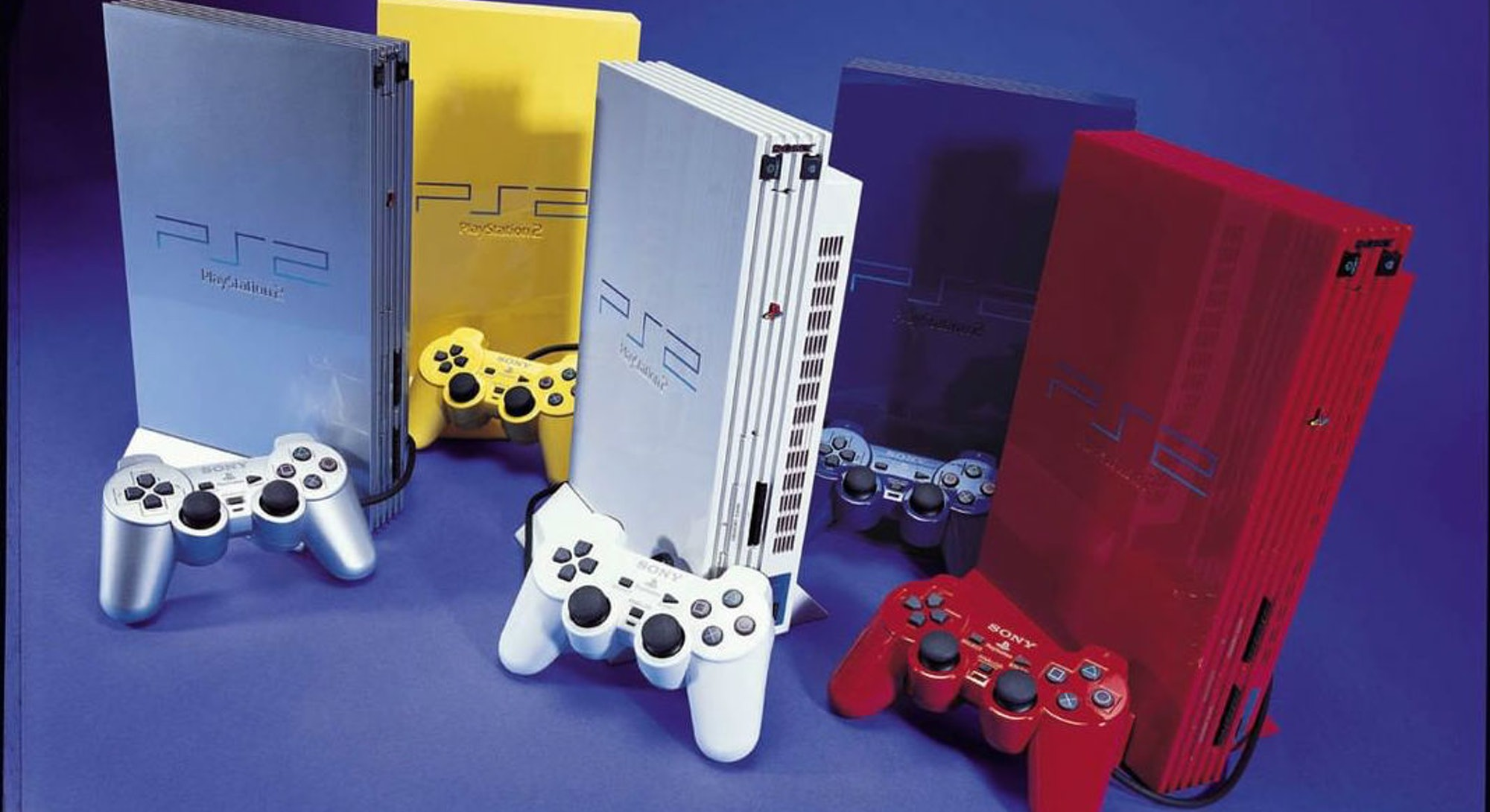 sony playstation 2 consoles in multiple colors