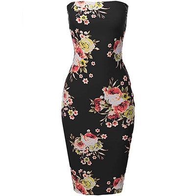Made By Emma Floral Strapless Bodycon Midi Dress