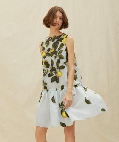 Oscar de la Renta Lemon-Print Silk-Blend Jacquard Mini Dress