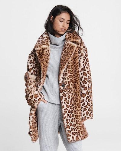 Emma Faux Fur Leopard Coat
