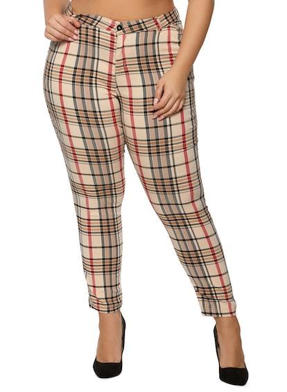 Rainbow Plus Size Khaki Plaid Pants