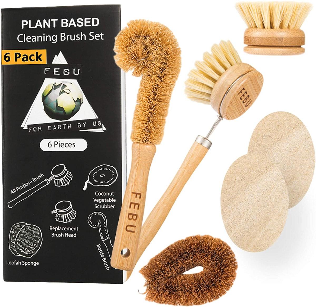 FEBU Zero Waste Bamboo Dish Brush Set