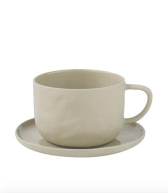 Stoneware Teacup & Saucer Set