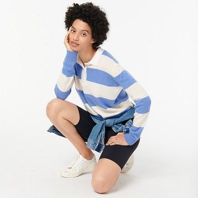 Collared Cashmere Sweater in Rugby Stripe