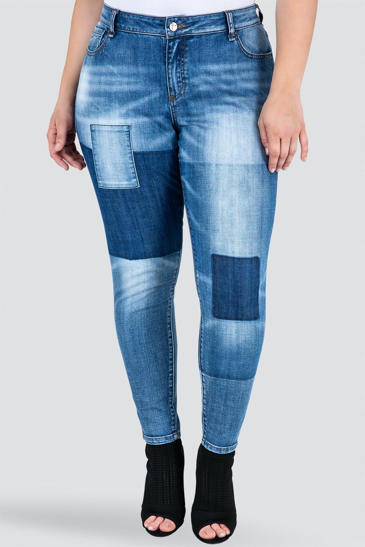 Isabel Patchwork Indigo Stretch Jeans