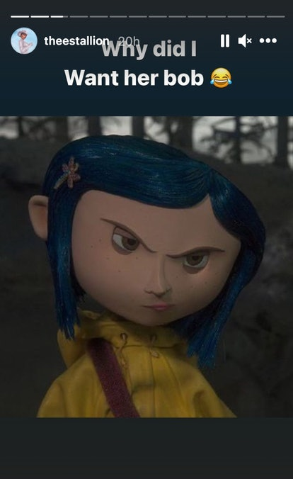 Screenshot of Coraline with comment from Megan Thee Stallion that reads, Why did I want her bob
