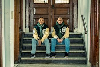STADIUM leather varsity jacket and hoodie