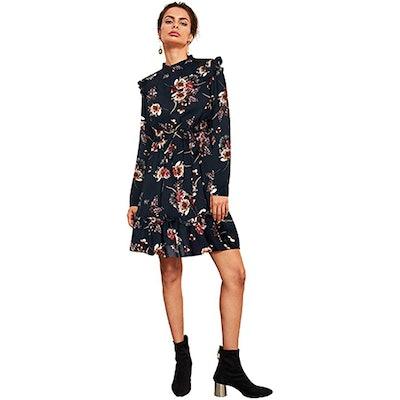 Floerns Long Sleeve Ruffle Trim Floral Dress