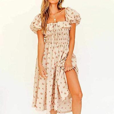 R.Vivimos Floral Print Puff Sleeve Vintage Midi Dress