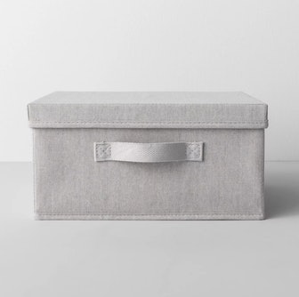 "13""X13""X6"" Short Fabric Bin With Lid Light Gray"