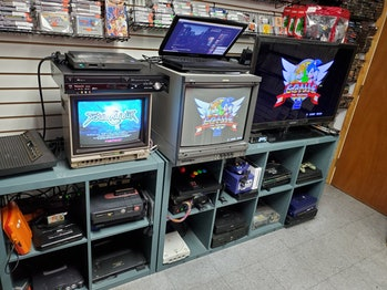 A variety of CRT monitors.