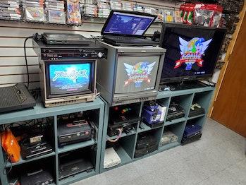 A variety of CRT monitors.