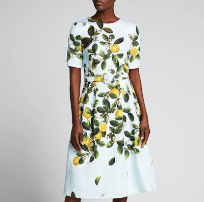 Oscar de la Renta Lemon-Print Belted Midi Dress