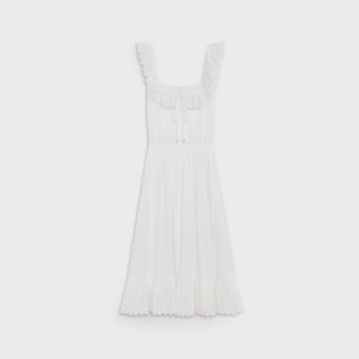 Prairie Dress in White Cotton Percale