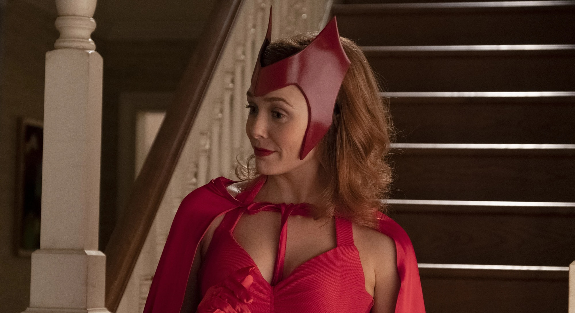 marvel's wandavision wanda in scarlet witch costume