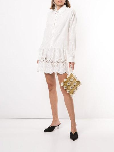Macgraw Dahlia Embroidered Drop-Waist Shirtdress