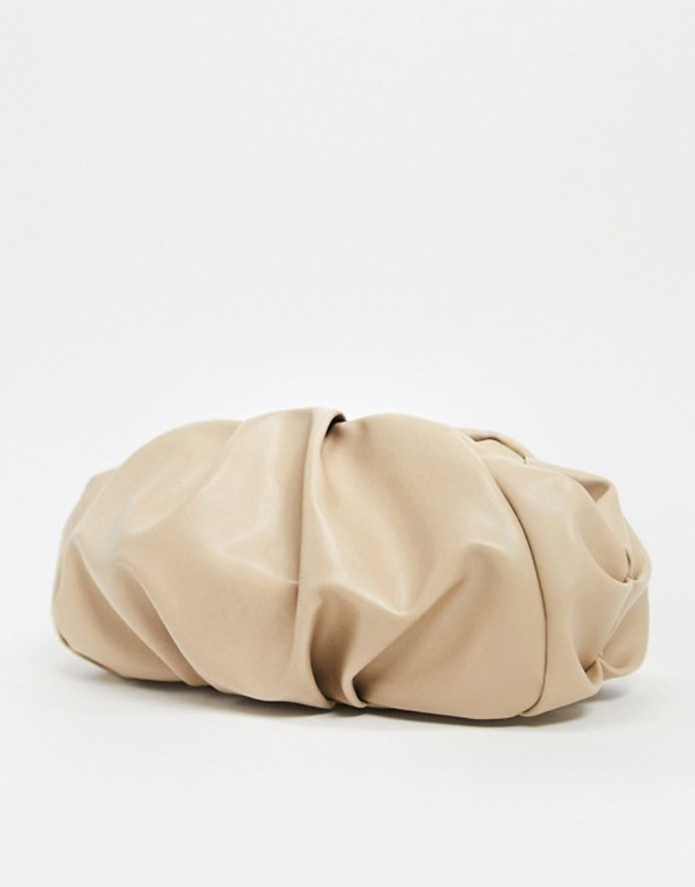 oversized ruched clutch bag in beige