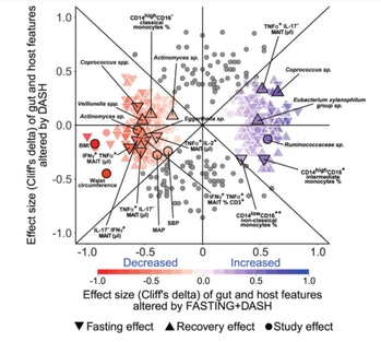 Graph showing changes in gut bacteria for fasting with diet versus diet only