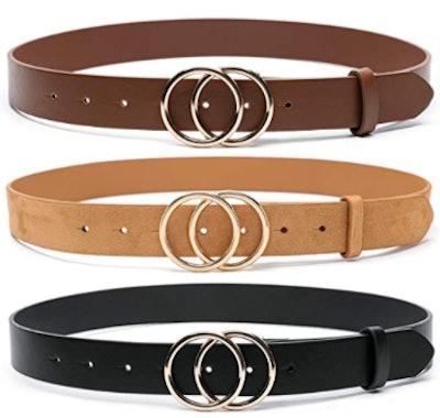 MORELESS Faux Leather Waist Belt (3-Pack)