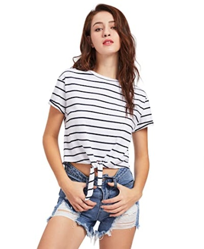 ROMWE Front Knot Crop Top