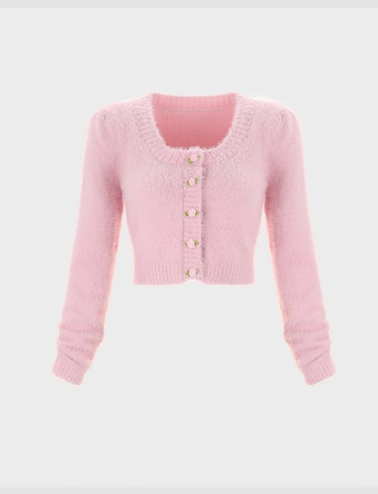 Cider Fuzzy Cardigan with Rose Button
