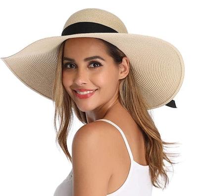 Lanzom Foldable Wide-Brim Hat