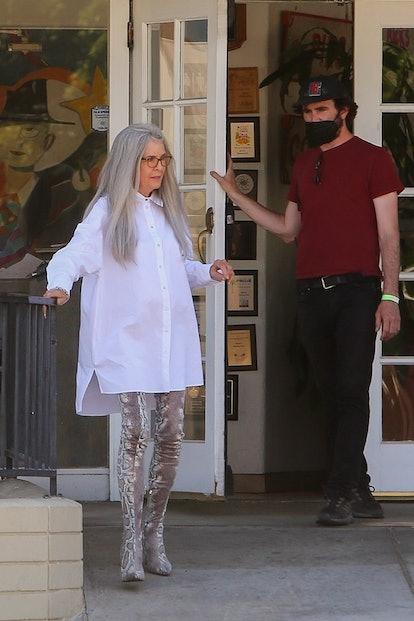 Actress Diane Keaton makes a fashion statement on the set of 'Mack & Rita' in Palm Springs.