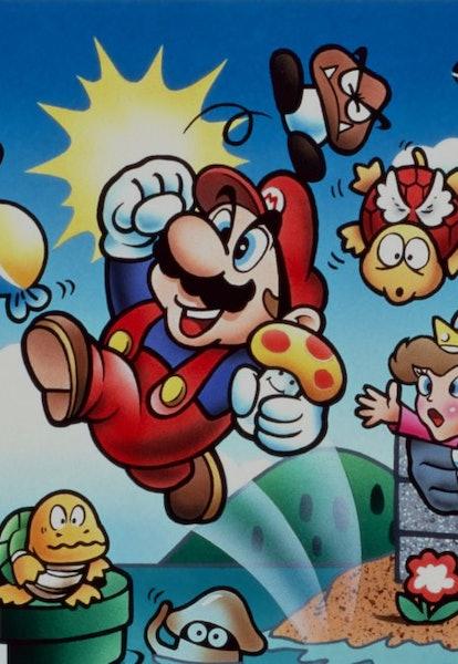 super mario bros mario with enemies illustration